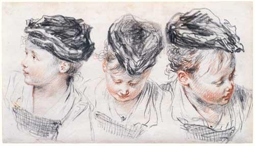 рисунки детских голов А. Ватто