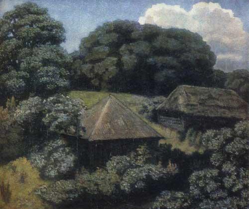 Крымов. Летний пейзаж с избами, 1920